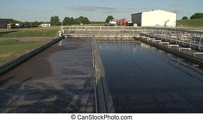 plante, aerated, réservoir, activé, eau, régler, traitement, boue, gaspillage, eaux égout