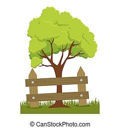 plante, arbre, barrière