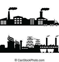 plante, atomar, bygninger, industriel, fabrik