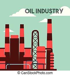 plante, bâtiments, industrie pétrolière, usine