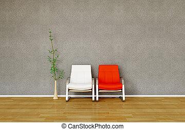 plante, chaise, deux