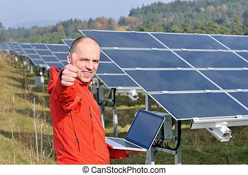 plante, champ, ingénieur, solaire, ordinateur portable, panneaux, utilisation