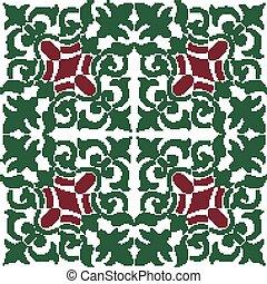 plante, coloré, modèle, vigne, spirale, seamless, vert, retro, halftone, kaléidoscope