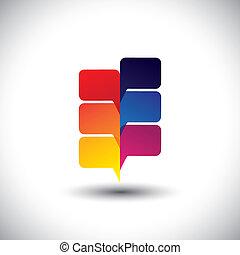 plante, coloré, résumé, arbre, parole, bavarder, bulles, ou, icône