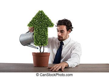 plante, concept, compagnie, arrosage, arrow., forme, croissant, homme affaires, économie