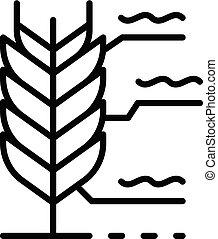 plante, contour, icône, blé, style