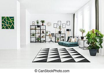 plante, dans, spacieux, appartement, intérieur