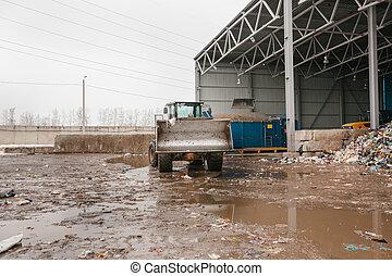 plante, disposal., spécial, travail, bulldozer, site, machinerie, gaspillage, ou, déchargement