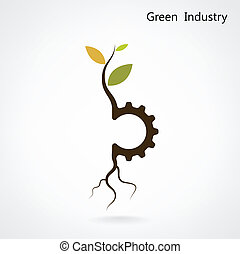 plante, engrenage, business, industrie, symbole, idea., vert, petit, concept.