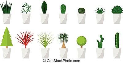 plante, ensemble, pot, vecteur, vert, intérieur, blanc