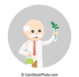 plante, expérience, scientifique, fond, cercle, homme
