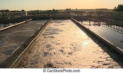 plante, facilité, bassins, grand, canaux transmission, traitement eau, piscines, eaux égout, sale
