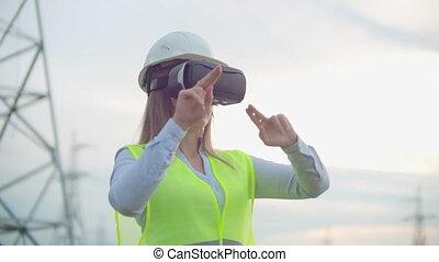 plante, femme, électricien, simuler, elle, transmission, lignes, travail, fond, graphique, réalité virtuelle, puissance, contre, a haute tension, main, interface, mouvements, lunettes, électrique