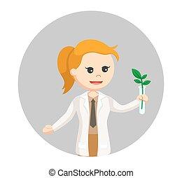 plante, femme, expérience, scientifique, fond, cercle