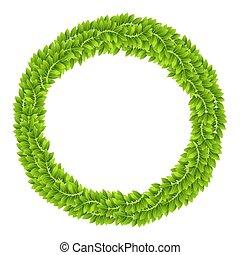 plante, feuille, feuilles, couronne, vert, planche, cadre