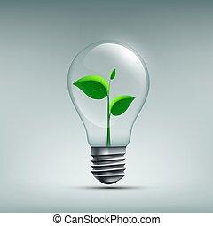 plante, feuilles, recyclage, waste., renouveler, croissant, bulb., icône