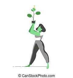 plante, fleur, aide, nature, femme, concept, tenue