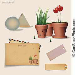 plante, fleur, illustration., carte postale, vendange, ...