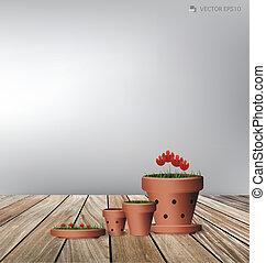 plante, fleur, illustration., pot., vecteur, argile, rouges