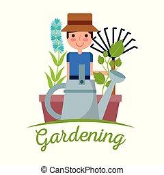 plante, fleur, jardinage, image, arbre, jeune, fourche, brouette, jardinier, homme