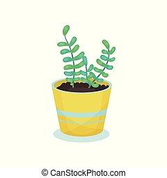 plante, fleur, maison, illustration, élément, décoration, vecteur, fond, intérieur, maison, blanc, pot