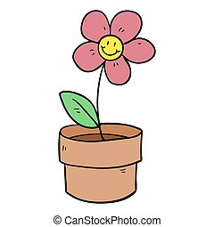 plante, fleurir pot, illustration