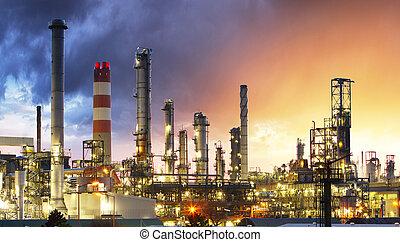 plante, huile, pétrole, industrie, usine, raffinerie, pétrochimique, coucher soleil