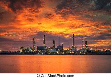 plante, huile, prtroleum, industrie, matin, raffinerie, levers de soleil