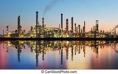 plante, huile, reflet, -, essence, usine, raffinerie, pétrochimique, crépuscule