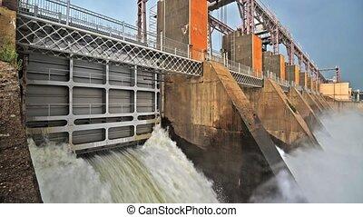 plante, hydroélectrique, décharge, barrage, eau