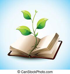 plante, i tiltagende, ind, åben bog