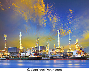 plante, industrie pétrochimique, raffinerie pétrole, b, bateau, pétrolier