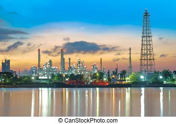 plante, industrie pétrolière, matin, raffinerie, long, crépuscule