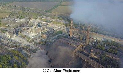 plante, industriel, aérien, industrie, raffinerie gaz, huile, fond, station., vue