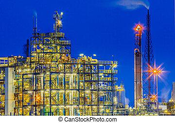 plante, industriel, détail, chimique, cadre, nuit