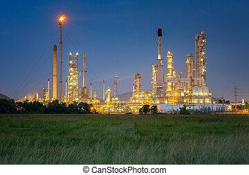 plante, industriel, essence, usine, raffinerie, huile