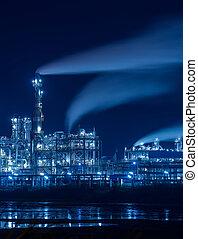 plante, industriel, industrie, raffinerie, chaudière, nuit