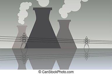 plante, industriel, magt, atomar, kølende tårn, landskab