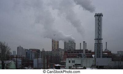 plante, industriel, pipes., puissance, timelapse., thermique...