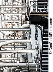 plante, industriel, puissance, intérieur, équipement, tuyauterie, trouvé, câbles