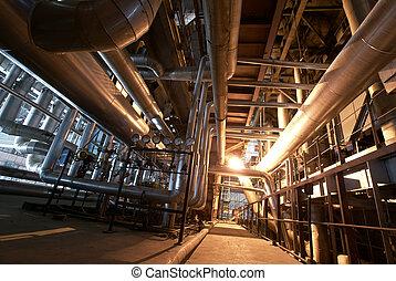 plante, industriel, puissance, intérieur, moderne,...