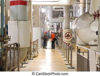 plante, industriel, puissance, intérieur, moderne, équipement, tuyauterie, trouvé, câbles