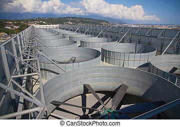 plante, industriel, système, toit, ventilation