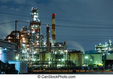 plante, industriel, usine, fonctionnement, nuit