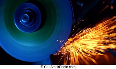 plante, industriel, wheel., étincelles, ouvrier, scies, ...