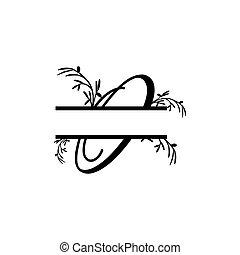plante, initiale, vecteur, monogram, fente, lettre, décoratif, o