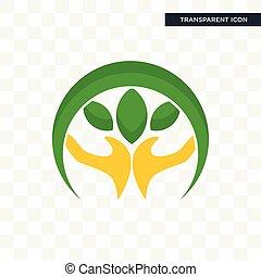plante, isolé, main, fond, vecteur, conception, tenue, logo, transparent, icône