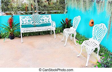 plante, jardin, vendange, pendre, banc, arrière-plan vert, chaise, fleurs