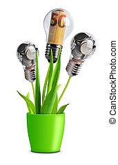 plante, lumière, pièces, billets banque, pot., ampoule