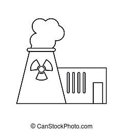 plante, magt, atomenergien, pictograh, tårn